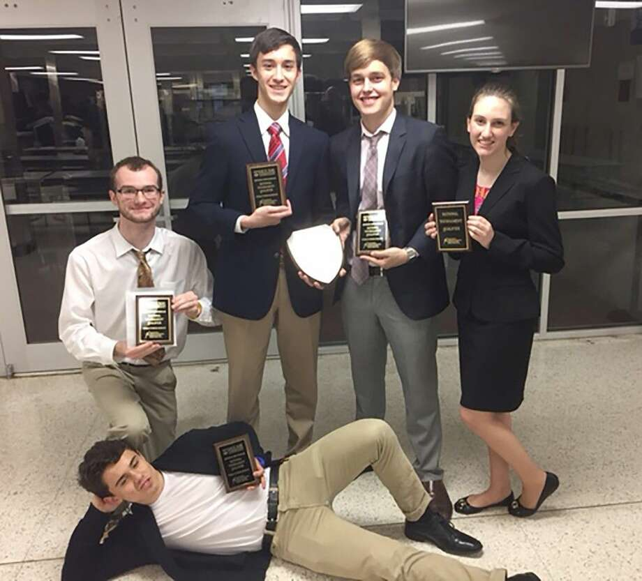 Cy-Fair High School students (top row, L-R) Chase Miller, J.J. Hayes, Jordi Barron and Cameron McConway; and (bottom) Adam Cammack qualified for the NSDA National Championship.