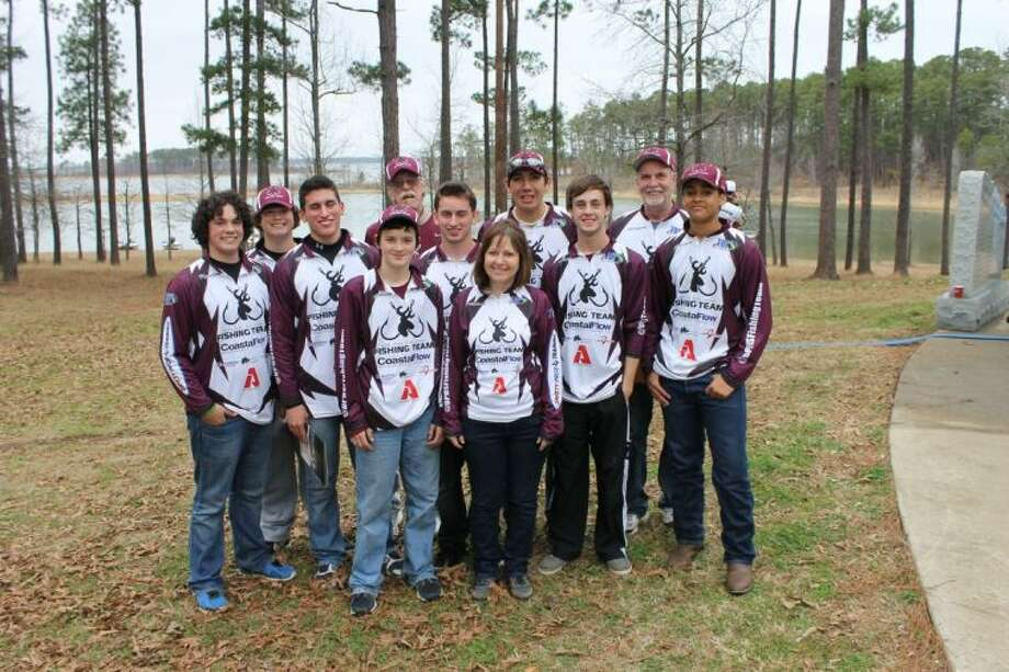 Members of the Deer Park High School Fishing Team are joined by their team sponsor and volunteer boat captains. Pictured are [front row, from left] Chris Corossan, sponsor Kay Shoffit, [middle row, from left] Kaston Hord, Brian Ernhart, Devon Frederick, Andrew Pressley, Jean Jenkins, [back row, from left] Kaleb Hord, boat captain Roger Shoffit, Josue Rodriguez and boat captain Wayne Shoffit.