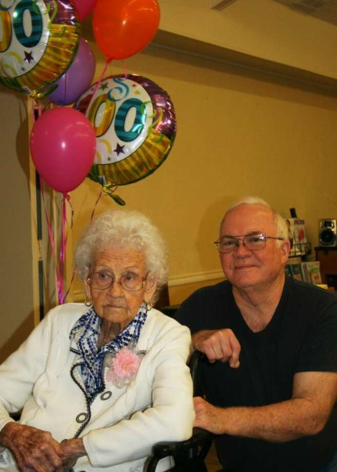 Ethel Ellington, a resident of Cleveland Health Care Center, celebrated her 100th birthday with her son, George Ellington, on May 6. Photo: STEPHANIE BUCKNER