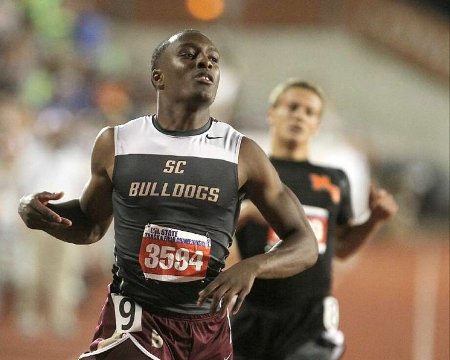 Summer Creek's Aaron Sharp competes in the Class 4A boys 200 meter dash during the UIL State Track and Field Championships at Mike A. Myers Stadium in Austin last Friday. Photo: Jason Fochtman