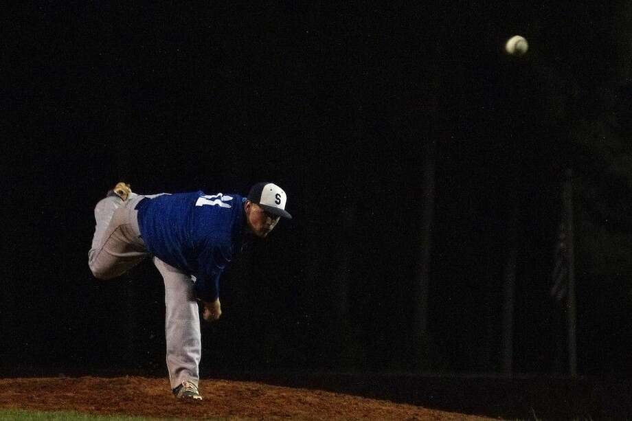 Shepherd pitcher Stephen Kolek threw 13 strikeouts at Cleveland, April 16, and struck out 11 batters when the Pirates hosted the Coldspring Trojans, April 22, 2015. Photo: Casey Stinnett
