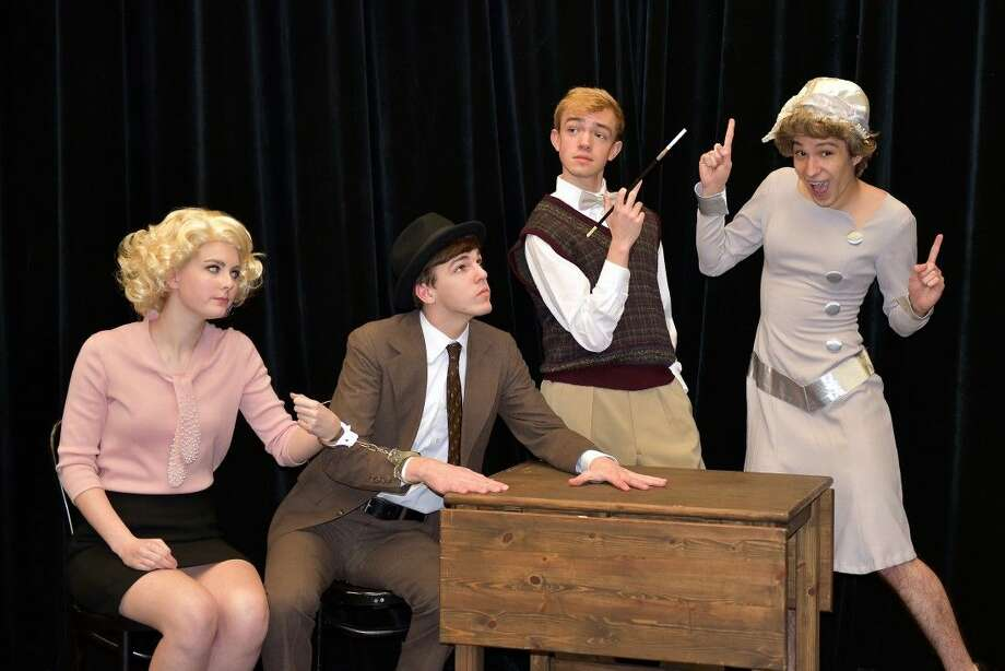 """Stratford Thespians getting into character for the hilarious melodrama """"39 Steps"""", based on the Alfred Hitchcock film. From left, Keeley Flynn, Jack Goss, Dustin Nichols, and Cameron Munoz. Picture by Claire Sharp. Tickets are $16 in advance, and are available online or can be purchased at the Box Office. Performances will be at 7:30 p.m., April 30-May 2, and May 8-9, with a matinee on May 9 at 2:30 p.m. For more information or to buy tickets, go to shsplayhouse.org or call 713-251-3449."""
