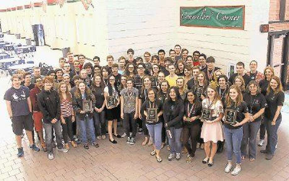 Students from The Woodlands High School after winning the district academic meet.