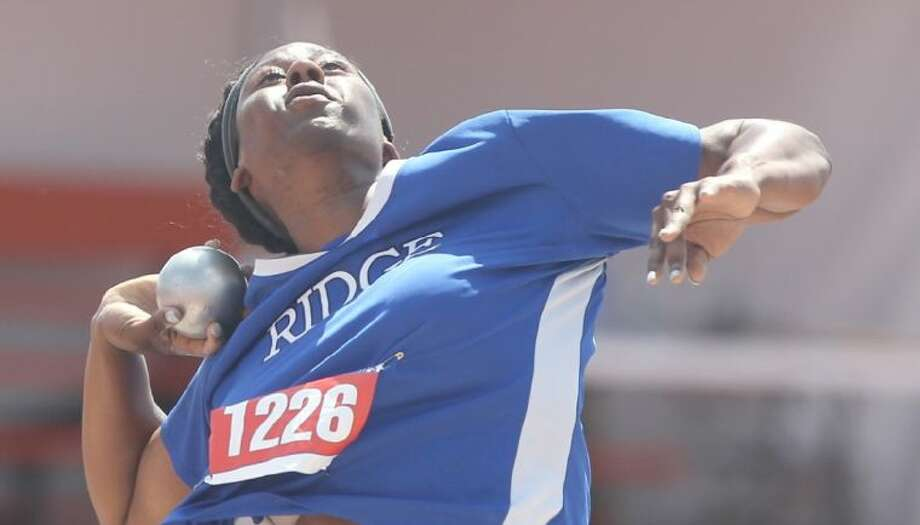 Oak Ridge's N'Dia Warren-Jacques competes in the Class 5A girls shot put during the UIL State Track and Field Championships at Mike A. Myers Stadium in Austin Saturday. To view or purchase this photo and others like it, visit HCNpics.com.