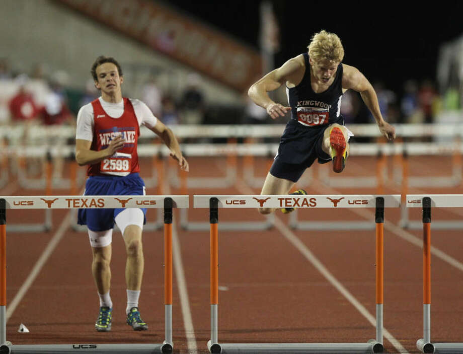 Kingwood's DeWitt Thomas competes in the Class 5A boys 300 meter hurdles during the UIL State Track and Field Championships at Mike A. Myers Stadium in Austin Friday. To view or purchase this photo and others like it, visit HCNpics.com. Photo: Jason Fochtman