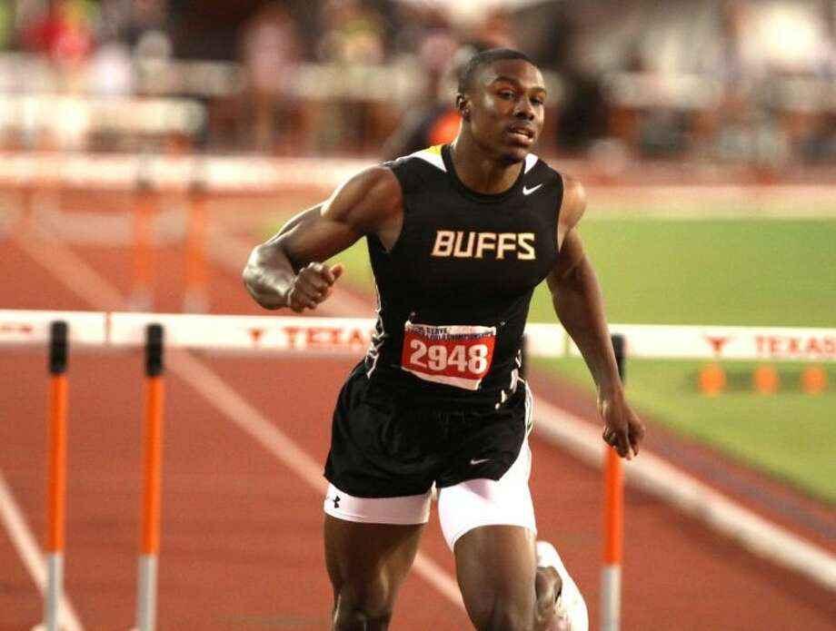Fort Bend Marshall's Kendall Sheffield won the Boys 4A 300-Meter Hurdles on May 9 at the UIL State Track & Field Championships at Mike Myers Stadium in Austin. Photo: Alan Warren