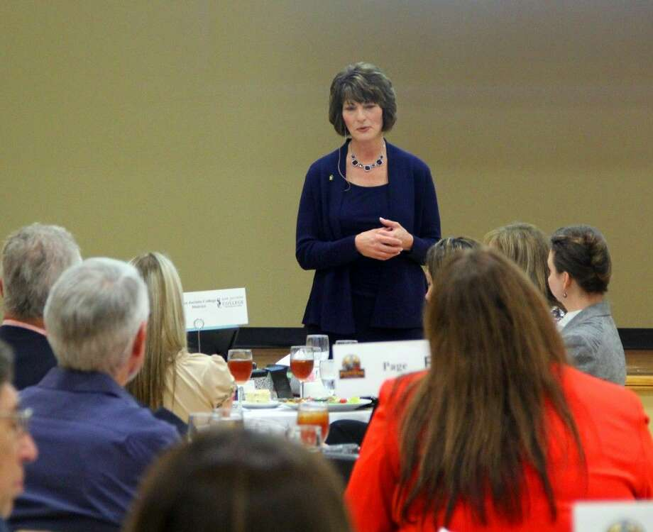 "Chancellor Brenda Hellyer of Jan Jacinto College (SJC) updated members of the Pasadena Chamber of Commerce at its monthly luncheon, Thursday (April 16).""Right now, we're now working on 'San Jac for tomorrow' which is our 2015 program. We are looking at a bond probably sometime in November,"" Hellyer said. ""The big things I see coming out of this bond are a center for petrochemical. We need additional capacity and expansion. We're also looking at a center for engineering and technology at our south campus. And them some other centers focused around what's needed for this region. We're looking at a new classroom building for the central campus."" Photo: Kristi Nix"