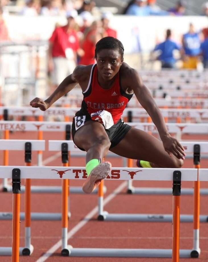Clear Brook's Raygen Smith runs in the girls' 100 meter hurdles at the Class 5A state track and field championships. Smith took sixth in the 100-meter hurdles, but brought home a medal by finishing third in the 300-meter hurdles. Photo: Alan Warren