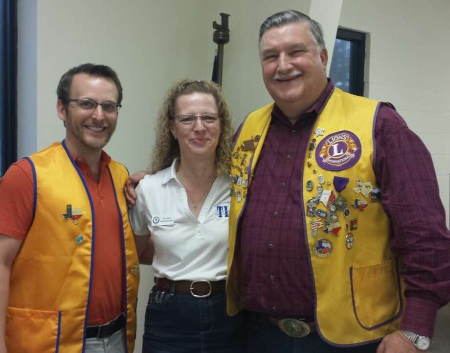 Trish Wilson with the Texas Lions Camp spoke at the May 13 meeting of the Cleveland Lions Club, where she was welcomed by President Taylor Heilers and Mike Penry. Photo: STEPHANIE BUCKNER