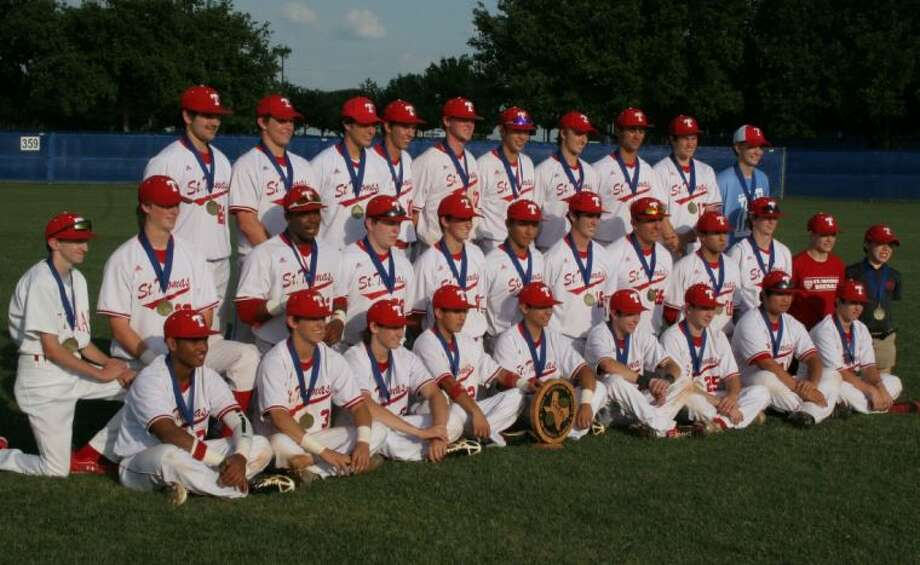The St. Thomas High School baseball team sits with their TAPPS state championship plaque Saturday in Waco after the Eagles defeated Concordia LUtheran, 2-1, for the school's third state championship in five years and 23rd overall. The Eagles beat a pair of local schools -- St. Pius and Concordia Lutheran -- to win the championship under new head coach Ryan Lousteau. Photo: Unknown