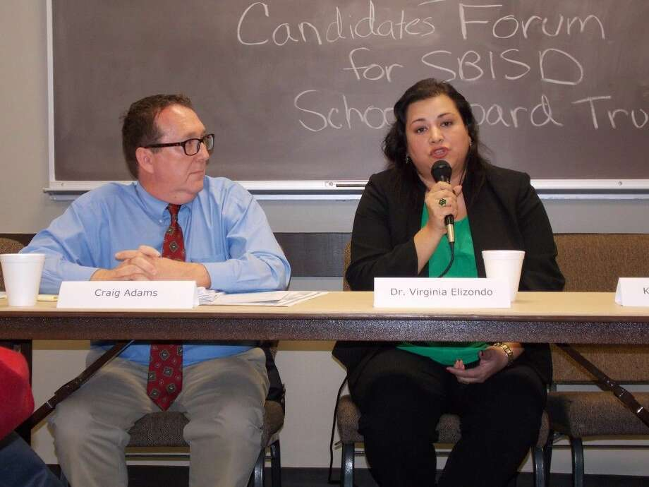 Craig Adams, left, and Dr. Virginia Elizondo addressed residents at the SBISD Candidates Forum on April 22