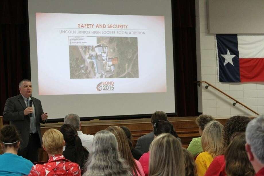 COCISD Superintendent Jerry Gibson discussed safety and security issues during the PowerPoint presentation at the Trojan Community Forum on Monday, April 20. Photo: Submitted