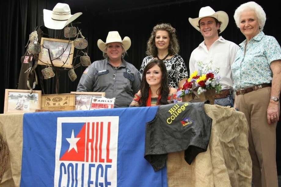 COHS senior Jordan Pierce was surrounded by family and friends as she signed a letter of intent to attend Hill College in Hillsboro, Texas. Pictured, from left to right: Pierce's mother, Sandra Michna, COHS Sponsor Ronda Underwood, Hill College Rebel Rodeo Team Asst. Coach Jake Brown and Pierce's grandmother, Linda Shaw. Photo: CASSIE GREGORY