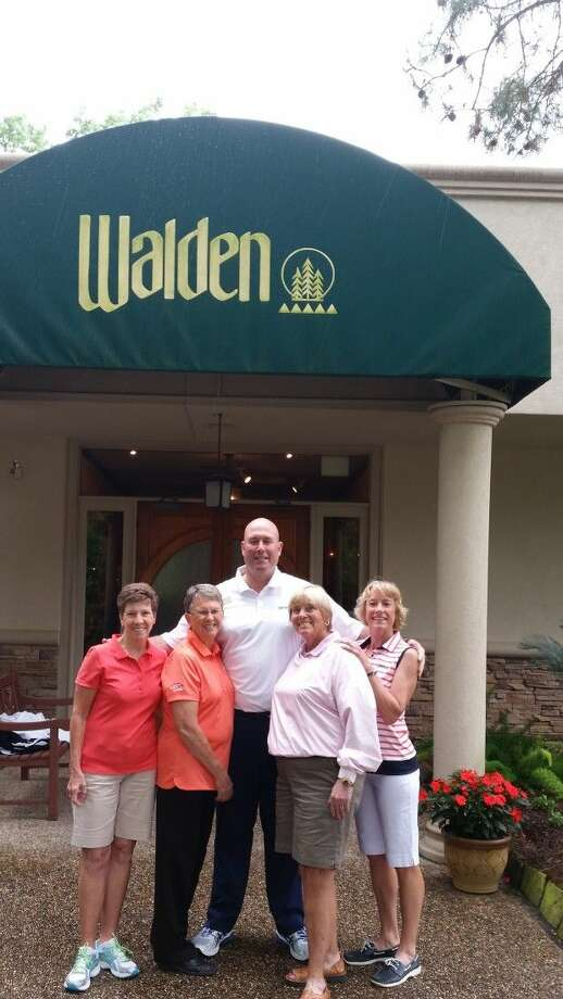 The 61st Texas Senior Women's Golf Association tournament is May 4-8 at Walden on Lake Conroe. Pictured (l-r) are Linda Bowser, Kate Higby, Danny Jones and Margie Barlow.