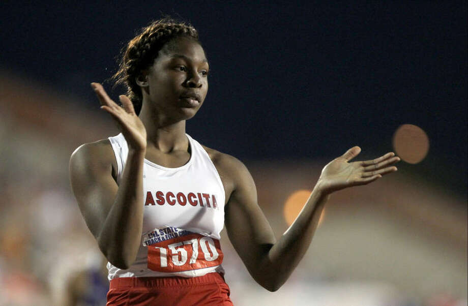 Atascocita's Ariel Jones celebrates after winning the the Class 5A girls 300 meter hurdles during the UIL State Track and Field Championships at Mike A. Myers Stadium in Austin Friday. To view or purchase this photo and others like it, visit HCNpics.com. Photo: Jason Fochtman