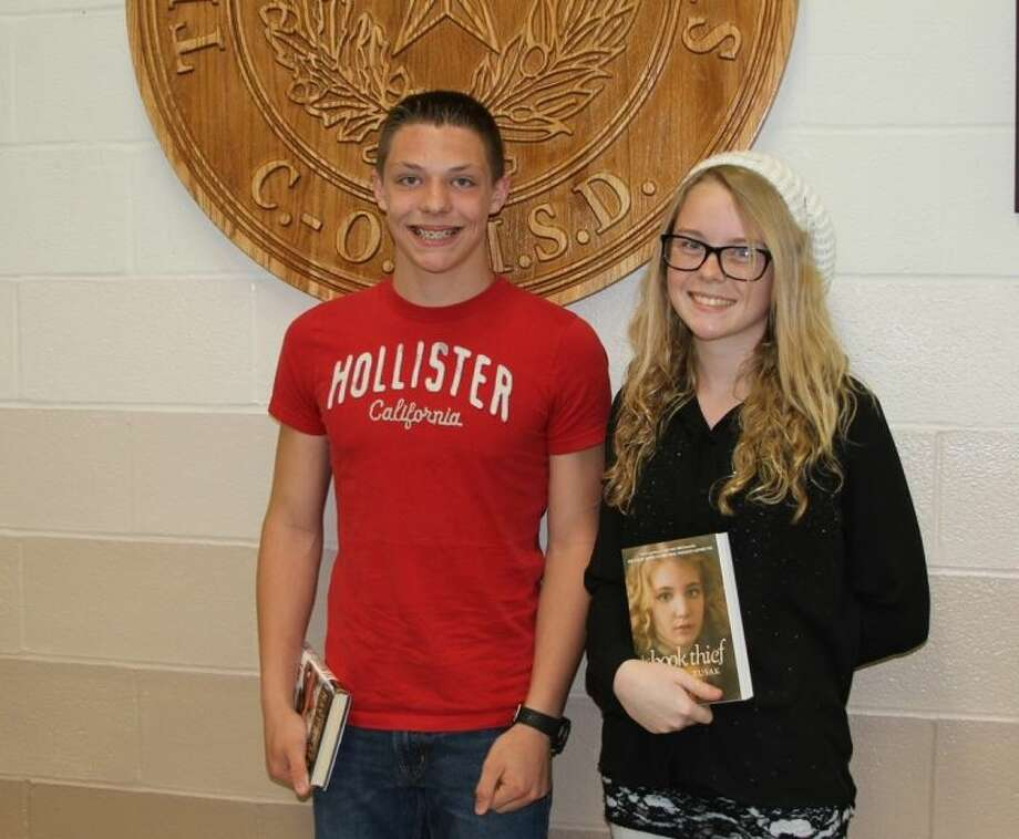 Lincoln Junior High students, Ethan Benestante, seventh grade, and Breanna Amszi, eighth grade, were chosen to represent their campus as Pledge Leaders at the COCISD Board of Trustees meeting on Monday, April 28. Photo: CASSIE GREGORY