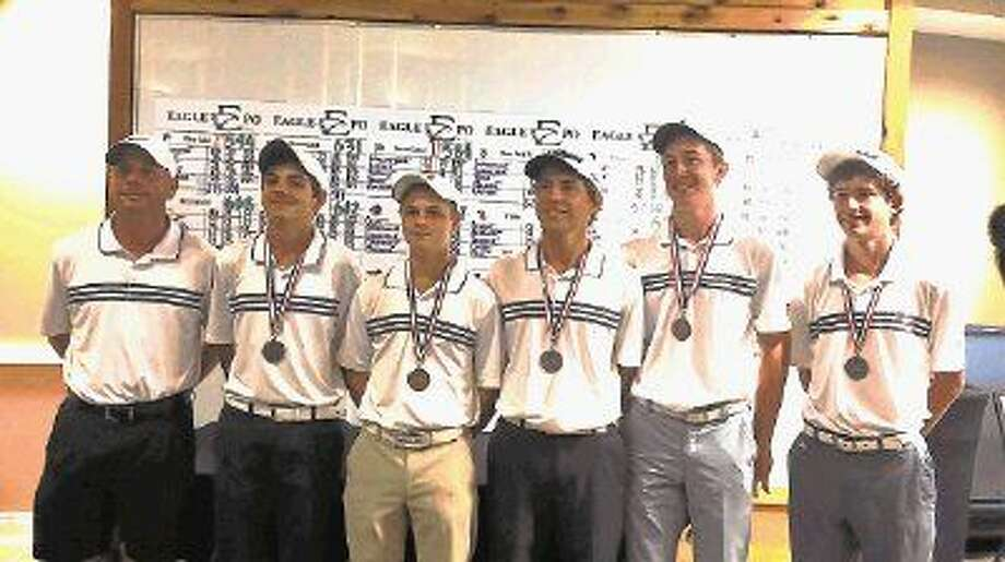 The Clear Lake boys golf team has advanced to the Class 6A state tournament to be played Monday and Tuesday in Georgetown. Team members (left to right) are head coach David Monsrud, Reed Giesinger, Nate Zahn, Cody Banach, Gavyn Freeland and Matt Jouett.