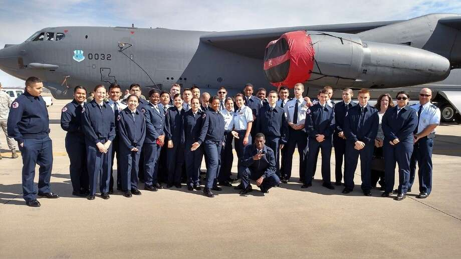 Cadets in Langham Creek High School's AFJROTC Unit TX-20061 are pictured in front of a Boeing B-52 Stratofortress, a long-range, subsonic jet-powered strategic bomber. The unit will host a site for the JROTC 99th Anniversary 5K Run on April 25.