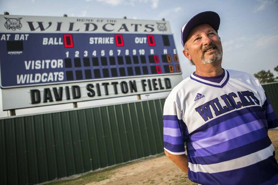 Wildcats head coach David Sitton poses for a portrait before his final home game April 24, 2015, at the newly christened David Sitton Field at Humble High School.