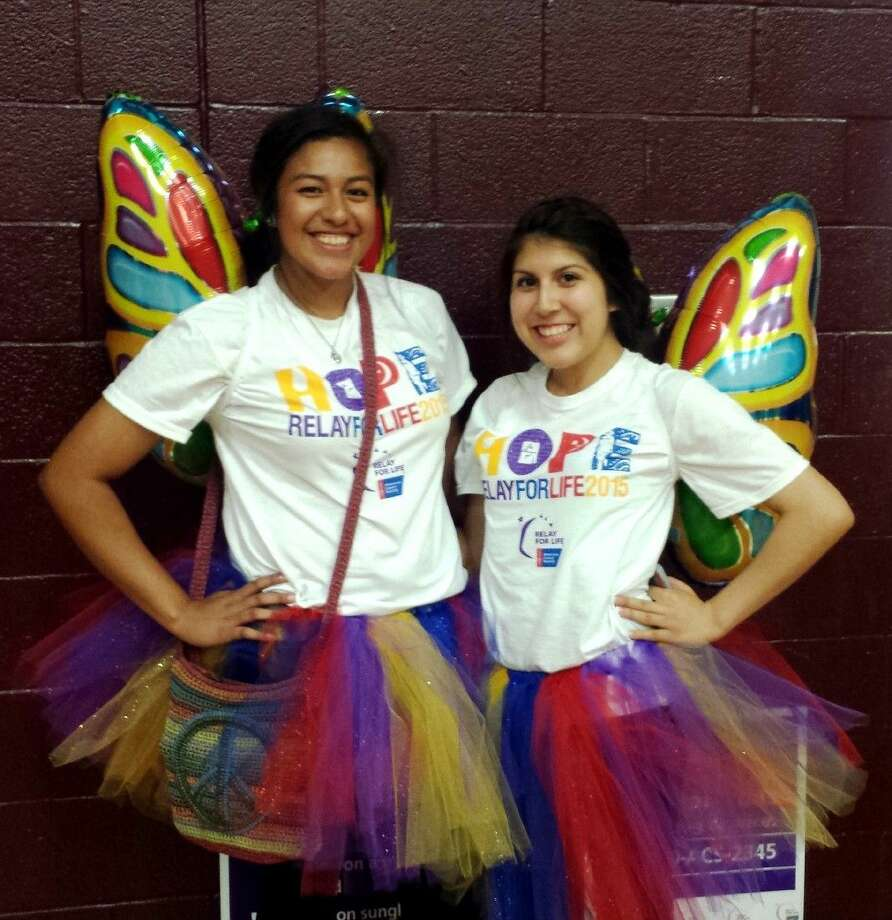 Olivia Rivera and Giselle Reyes dressed up to show their support in the fight against cancer during the annual Relay for Life event, which was held on April 24 at Tarkington Middle School. Photo: Stephanie Buckner