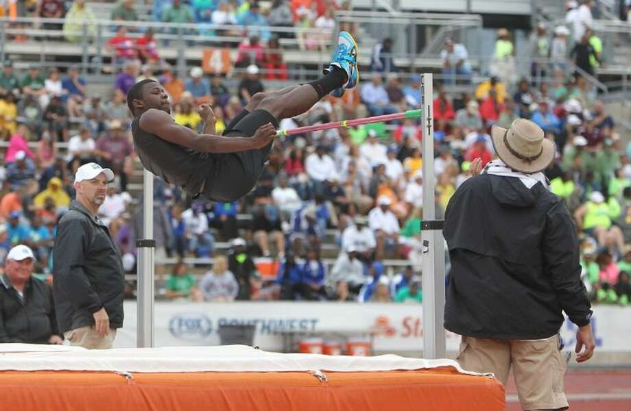 Coldspring's Douglas Johnson competes in the Class 3A boys high jump during the UIL State Track and Field Championships at Mike A. Myers Stadium in Austin Friday. To view or purchase this photo and others like it, visit HCNpics.com. Photo: Jason Fochtman