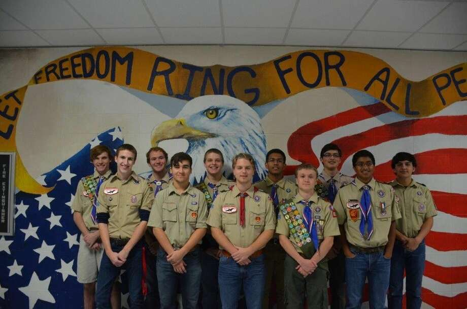 This group of Clements High School seniors have all attained the rank of Eagle Scout. They represent three different Boy Scout troops: 659, 731, and 828. Besides earning the highest award in Scouting, these students have also been involved in various extracurricular activities at Clements, including band, choir, athletics, run-through crew, DECA, NJROTC and theatre. Pictured from left, Reese Meredith, Travis Zarske, Henry Burgess, Autsin Mills and J. J. Ram. Back row, Aidan Chambers, Luke Dixon, Steven Choate, Uddhav Marwaha, Andrew Burgos and Michael Tollestrup. Not pictured from Troop 731: Connor Dilgren.