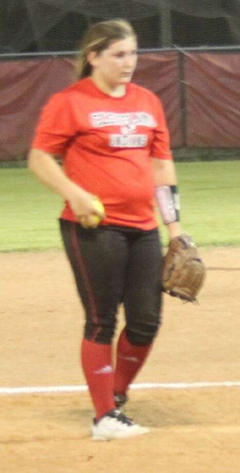 Ashley May (23) of the Lady Indians concentrates on making her next pitch. Photo: Jacob McAdams