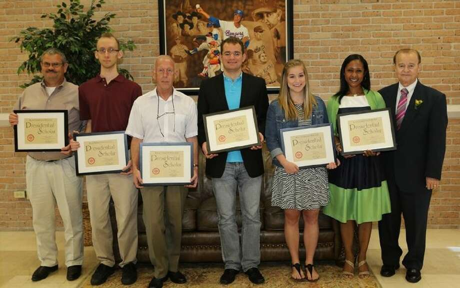 The Presidential Scholars are from left: Michael Britt, of Missouri City; Matthew Kruvalis, of Pearland; Iain Macey, of Alvin; Spencer Richards, of Friendswood; Brenna Patrick, of Friendswood; Candace Lovings, of Pearland and ACC President Dr. Rodney Allbright. Photo: Courtesy ACC
