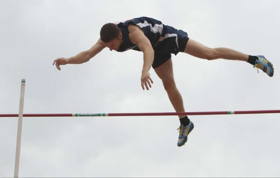 Little Elm's Griffin Hawk competes in the Class 4A boys pole vault during the UIL State Track and Field Championships at Mike A. Myers Stadium in Austin Friday. To view or purchase this photo and others like it, visit HCNpics.com. Photo: Jason Fochtman