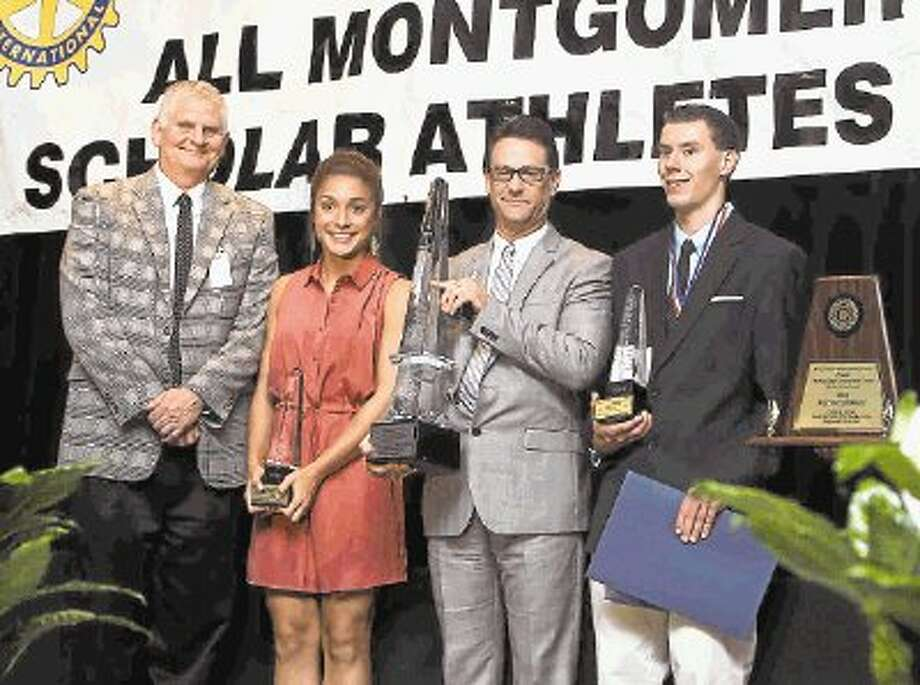Montgomery's Delaney Maberry, second from left, and Magnolia's Casper Stinn, far right, were named the female and male overall gold winners during the Mike Ogg Montgomery County Scholar-Athlete Awards banquet on Wednesday at the Lone Star Convention and Exposition Center. To view or purchase this photo and others like it, visit HCNpics.com. Photo: Jason Fochtman / Conroe Courier