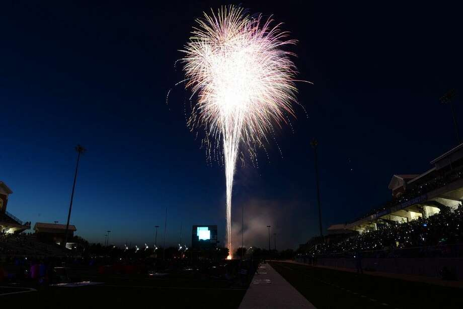Fireworks light up the sky over the Berry Center Stadium scoreboard for the culminating event of the 75th Anniversary school year, the 75th Anniversary Festival, on April 25.