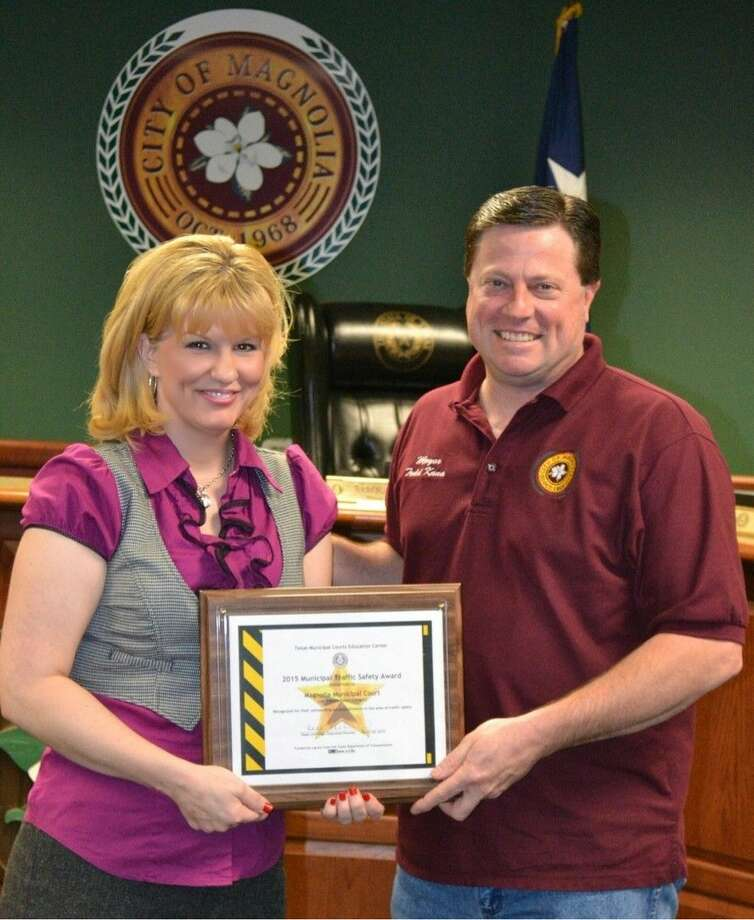 Magnolia Municipal Court recently won its second consecutive Municipal Traffic Safety Award from the Texas Municipal Courts Education Center in Austin. Participating with 25 other cities in Texas the Magnolia MTSI award represents traffic safety education initiatives and programs carried out by the Magnolia court throughout 2014. Court Administrator Victoria Hanson presented the recognition she picked up in Austin last month to Mayor Todd Kana, at the April 14 City Council meeting. Photo: Submitted