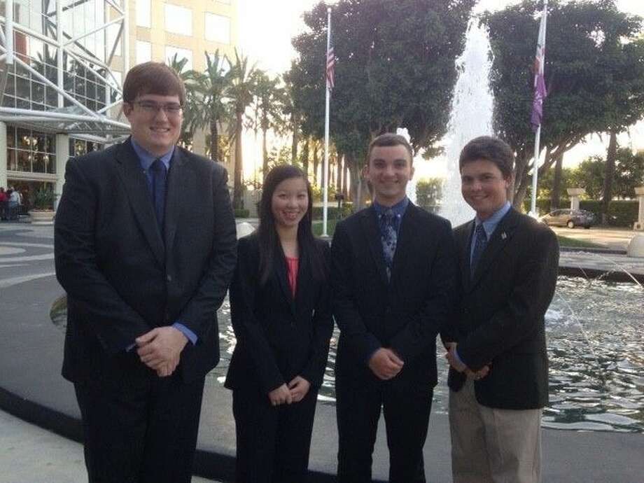 FHS seniors Julia Lu, Jonathan Snowden, Ray Monahan, and Brooks Pettit represented Friendswood at the National Academic Decathlon meet in Garden Grove, California April 16-19. The four won eight medals at the national competition.