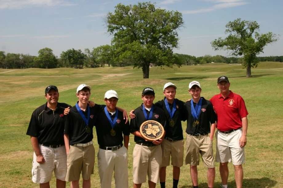 The Pope John XXIII boys golf team won the first TAPPS state championship in program history. Pictured are Assistant Coach Jeff Tesone, Jake Garrison, Philip Nijoka, Mark Nijoka, Peter Thorseth, Case Garrison and Coach Larry Finke. Photo: Submitted Photo