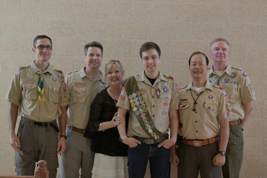 Mark Coalmer (former scoutmaster, Troop 826, Manama, Bahrain), Mark Carothers, Karen Carothers, Evan Carothers, Long Pham (former Scoutmaster Troop 38) and Steve Frantz (former Scoutmaster, Troop 38). Photo: Submitted Photo