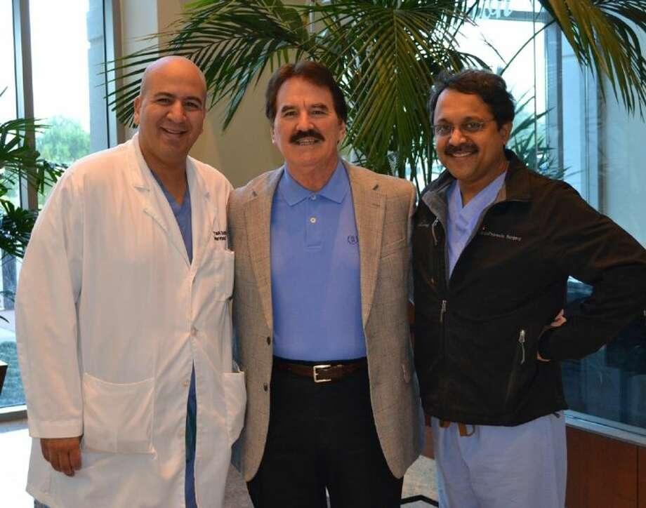 Yassir Sonbol, M.D.; John Strong and Uttam Tripathy, M.D. Photo: Photo Courtesy Houston Methodist Sugar Land Hospital