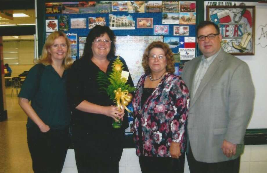 Pictured, left to right, are Keely Coufal, Marion Grant, Dorothy Blankenship and Principal Rob Hasson.