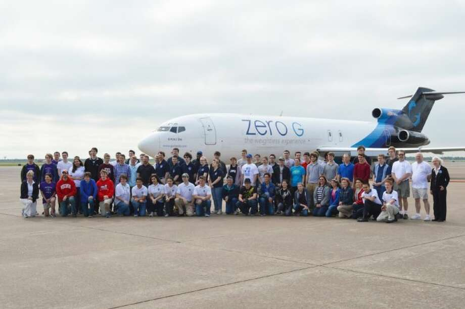 NASA HUNCH personnel and students from 15 participating high schools including Clear Creek and Clear Springs along with their teacher/sponsors. Photo: Courtesy CCISD