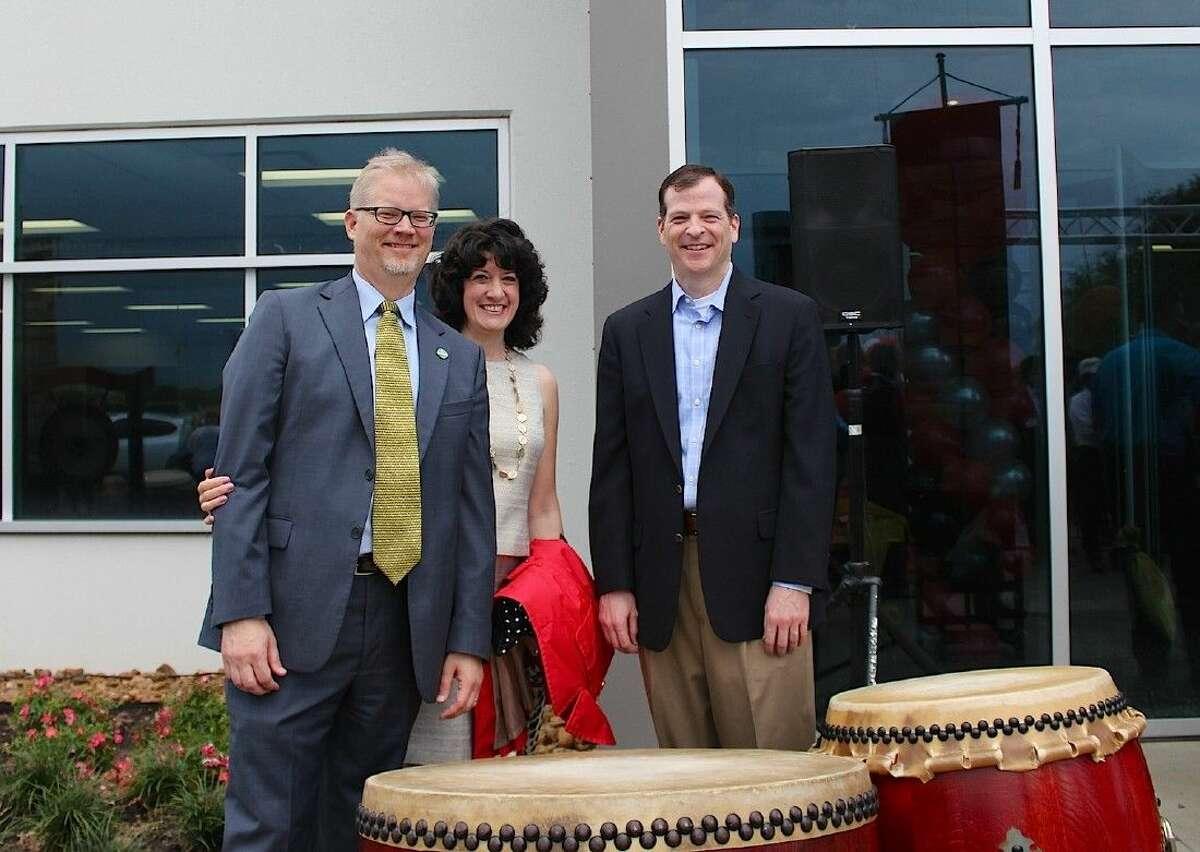 City Manager Clay Pearson, wife Jennifer and Matt Buchanan, President of Pearland Economic Development Corporation.