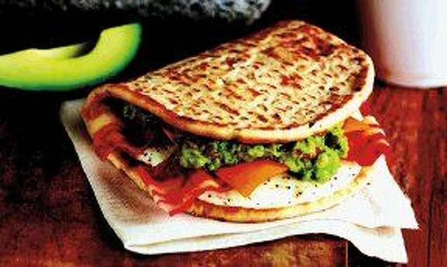Dunkin's new Bacon Guacamole Flatbread Sandwich. Photo: Jim Scherer