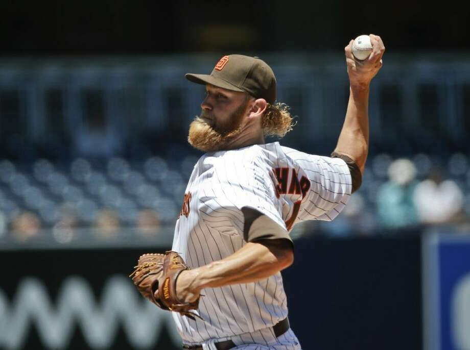 San Diego Padres starting pitcher Andrew Cashner, a Conroe High grad, works against the Astros on Wednesday in San Diego.