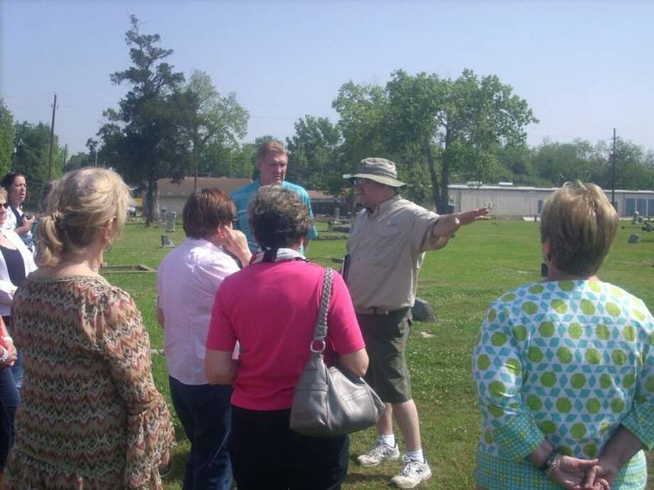 The Humble Area Genealogical Society recently took a tour of historic Humble led by Dr. Robert Meaux. Photo: Submitted Photo