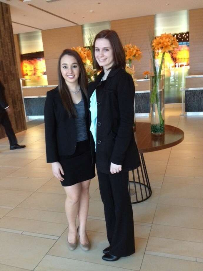 """Sarah Swift, left, and Brianna Bennick from Magnolia High School attended the Business Professionals of America (BPA) 2014 National Leadership Conference, """"Accelerate Your Future,"""" in Indianapolis, Ind., April 30 through May 4. Photo: Submitted"""
