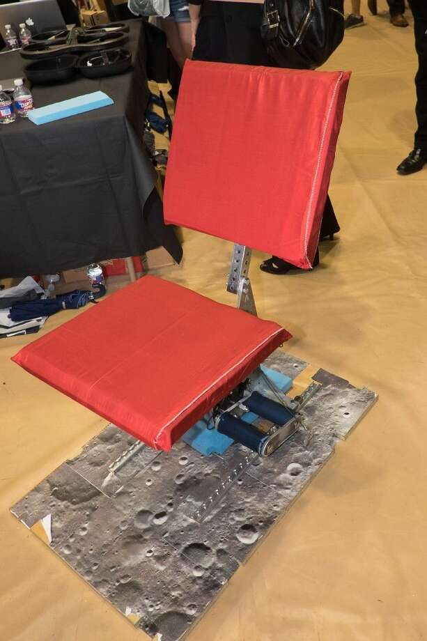 A team of Rice University engineering students has designed a flexible chair for space habitats. Along with a custom, adjustable table, the prototypes are intended to present ideas for both space-bound astronauts and future habitats on the moon, Mars and beyond. Photo: Jeff Fitlow
