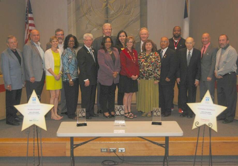 Lee College Pres. Dr. Dennis Brown, the Board of Regents and cabinet-level administrators celebrated winning the 2015 AACC Award of Excellence for Student Success at the regular board meeting held Thursday, April 30, 2015.
