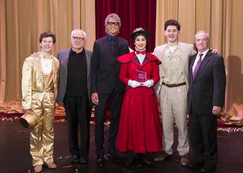 Pictured from left, Harrison Poe (Best Supporting Actor) as Paul from The Kinkaid School's A Chorus Line, Bruce Lumpkin (TUTS Artistic Director), Tommy Tune, Audrey McKee (Best Leading Actress) as Mary Poppins from Friendswood High School's Mary Poppins, Alec Michael Ryan (Best Leading Actor) as Lawrence from Klein Oak High School's Dirty Rotten Scoundrels and John Breckenridge (TUTS President and CEO).