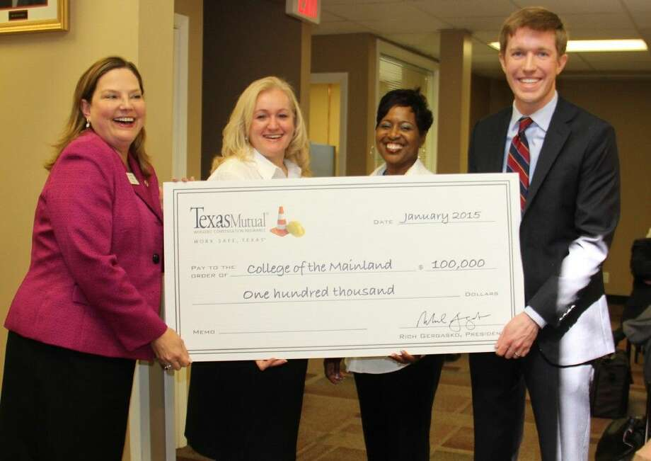 Texas Mutual Insurance Co. donated $100,000 to fund free safety and health classes taught by experts at the Gulf Coast Safety Institute, continuing a 15-year partnership. From left Beth Lewis, COM president; Cindy Lewis, director of the Gulf Coast Safety Institute; Sealice Hemphill, program assistant at the Gulf Coast Safety Institute; and Jeremy Hanson, of Texas Mutual Insurance.