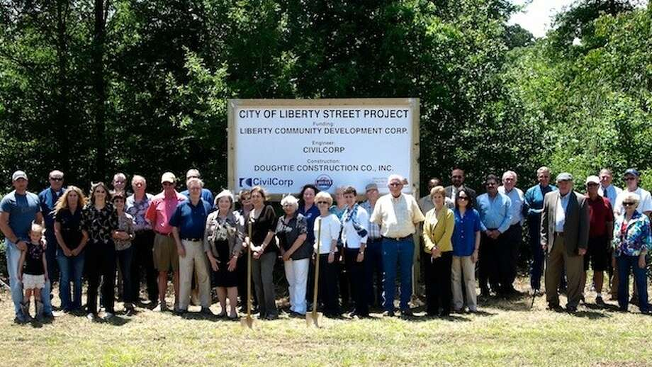 The Liberty Community Development Corporation and the City of Liberty officially broke ground for the construction of a new street Friday, May 16. The street will connect the SH 146 bypass to Lakeland Drive. Photo: CASEY STINNETT / Houston Community Newspapers, 2014