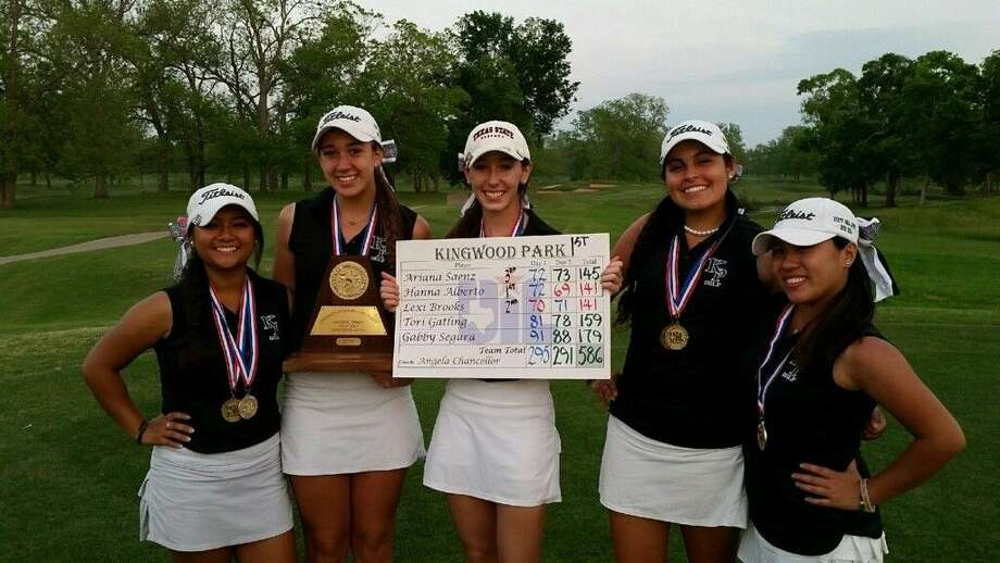 Kingwood Park girls golf team members, from left to right, Hanna Alberto, Gabby Segura, Lexi Brooks, Ariana Saenz and Tori Gatling, show off their new hardware after qualifying for State as a team.