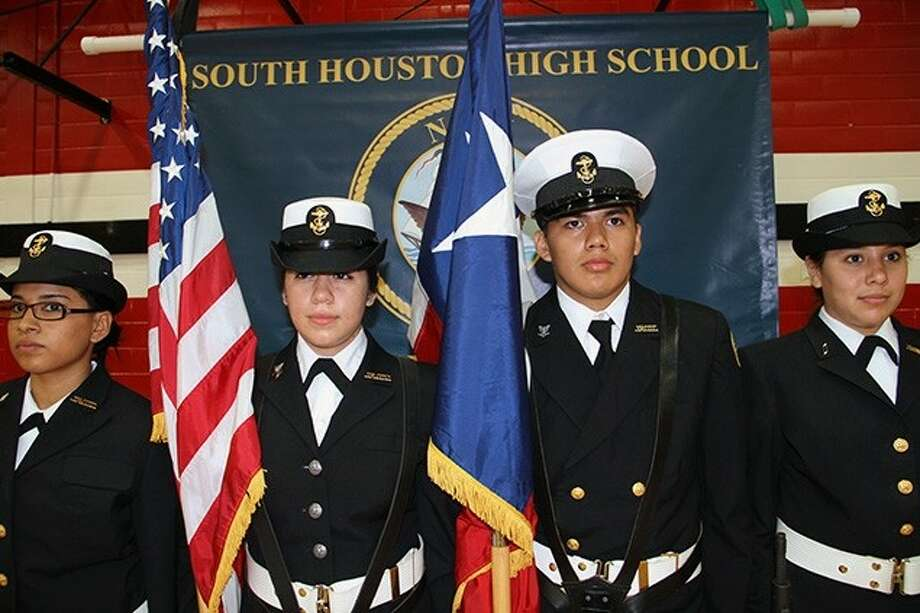 Pictured from left: Cadet Seaman Apprentice Mary Deanda, Cadet Petty Officer First Class Kassandra Alonzo (Color Guard Commander), Cadet Petty Officer Oscar Martinez, Cadet Seaman Apprentice Ana Colmenero. Photo: Courtesy Pasadena ISD